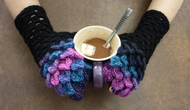 Dragon Scale Fingerless Crochet Gloves  cotton candy  one of image 0