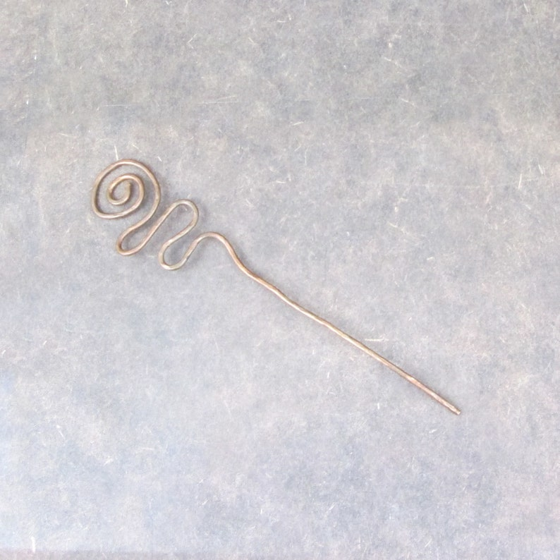 Copper shawl pin hair stick hammered copper hair shawl pin  image 0
