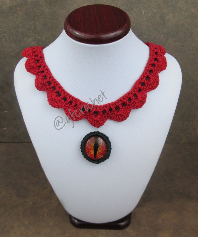 Red Hand Painted Dragon Eye Necklace  image 0