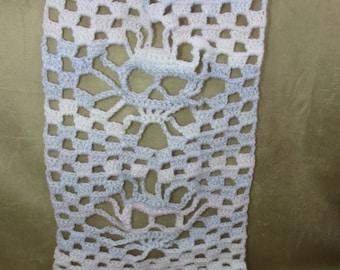 Skull Scarf, Ladies gothic scarf, Goth crochet scarf, Spooky fashion, gift for her, Halloween handmade fashion scarf for fall