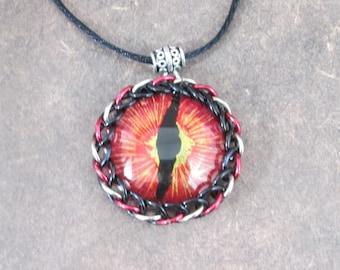 Hand Painted Dragon Eye Pendant fire