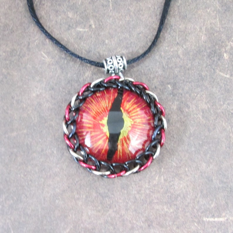 Hand Painted Dragon Eye Pendant fire image 0