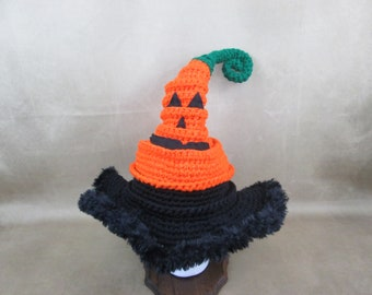 Jack-o-lantern Fancy curly winter witch hat