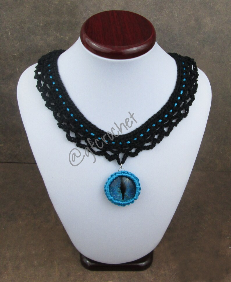 Blue Hand Painted Dragon Eye Lace Necklace image 0