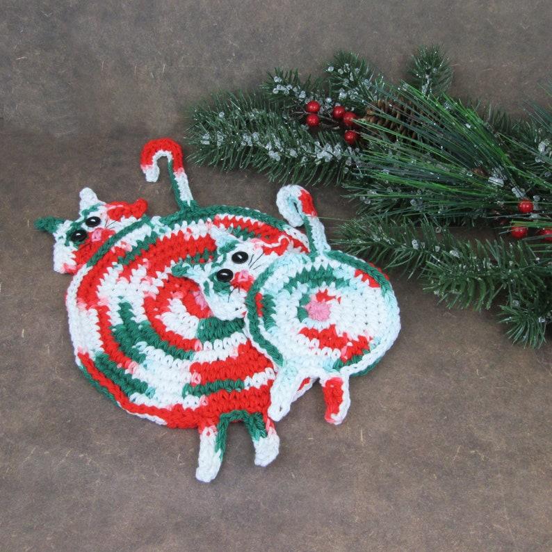 Christmas Cat Butt Crochet Potholder and Coasters  Christmas image 0