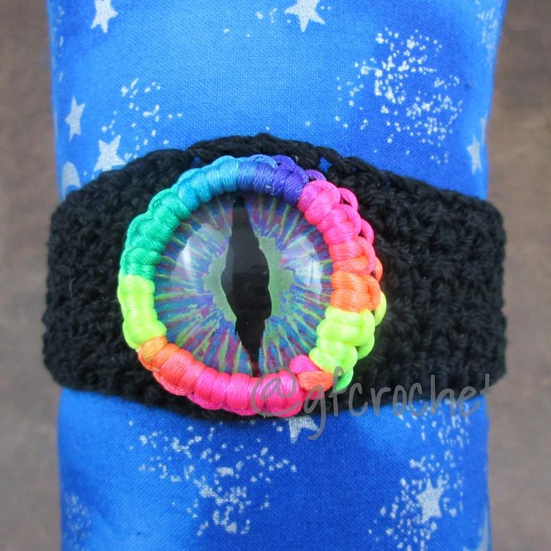 Rainbow Pride Unisex Hand Painted Crochet Bracelet image 0