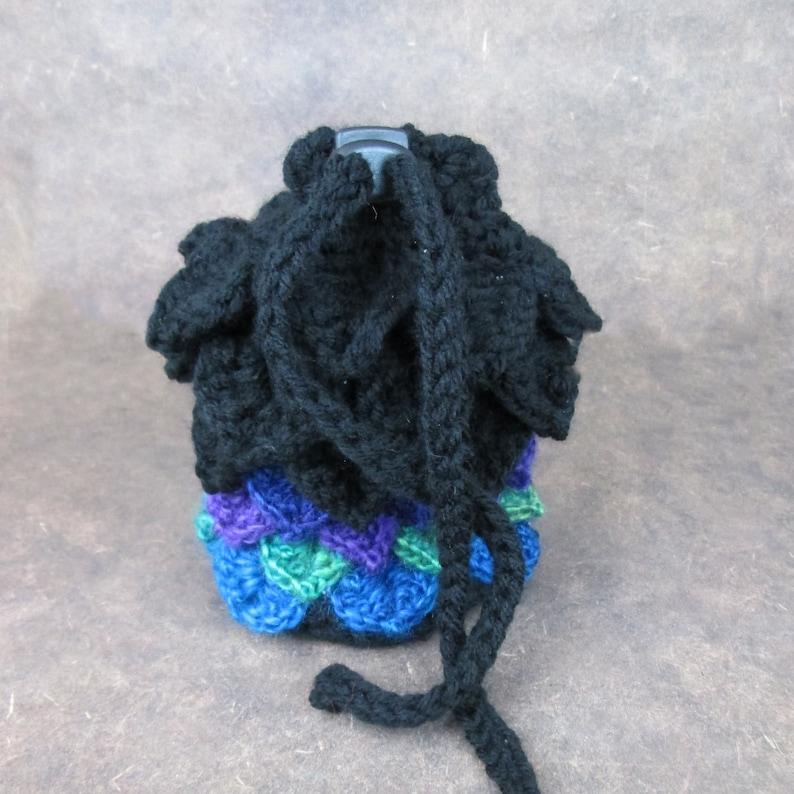 Gossamer and Black Dragonscale Crochet Bag  dice bag stash image 0