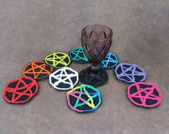 Crochet Star Wine Glass Coaster Black