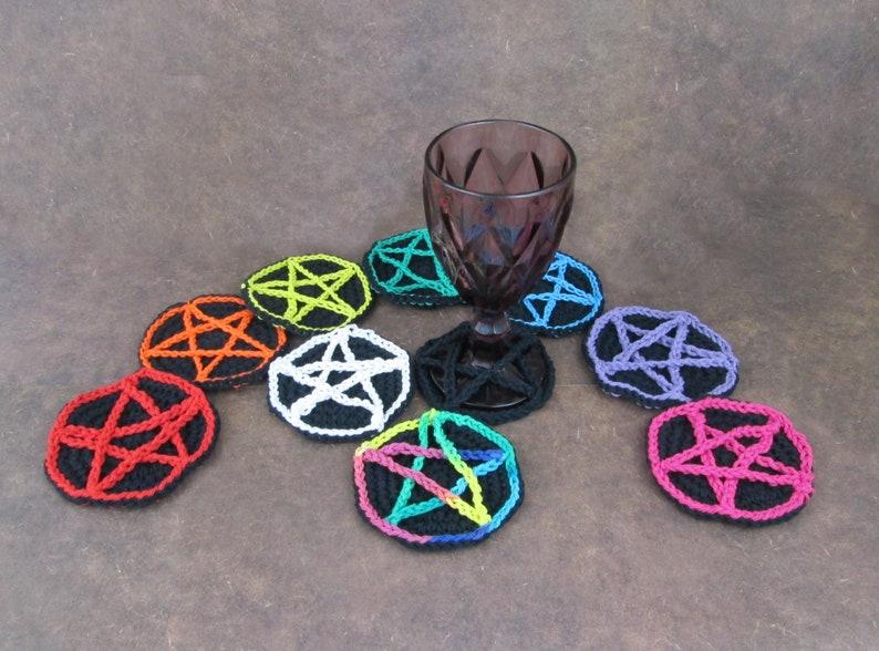 Crochet Star Wine Glass Coaster Black image 0