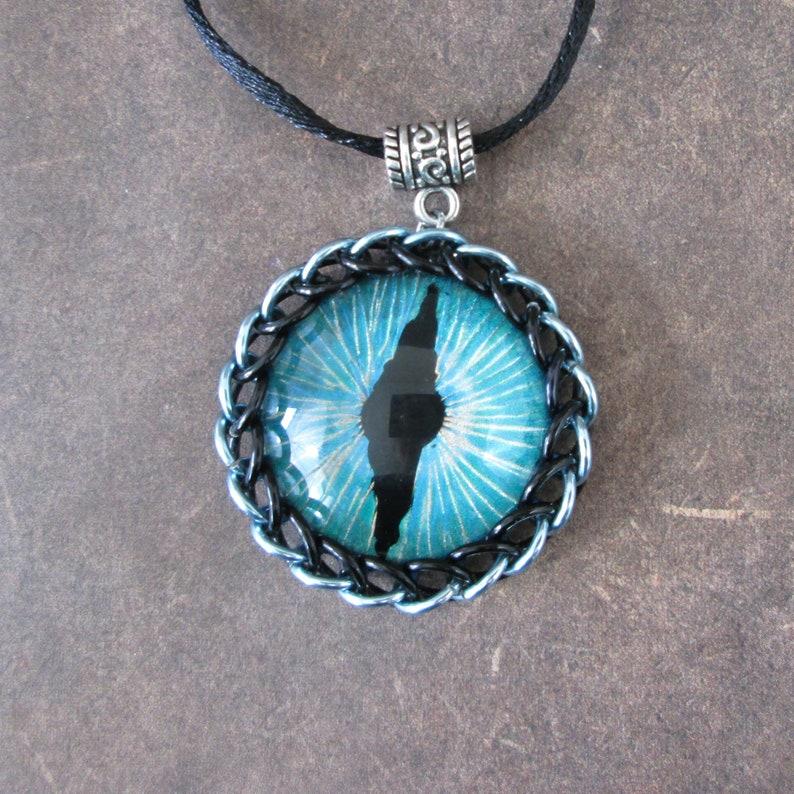 Hand Painted Dragon Eye Pendant blue image 0
