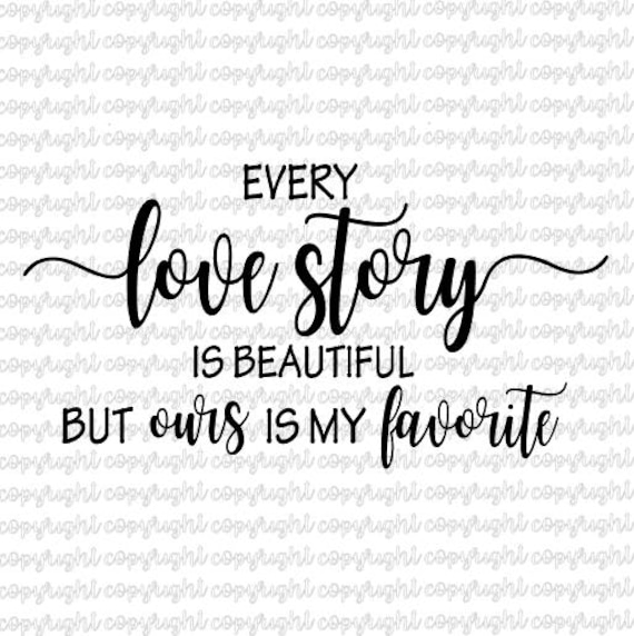 Every Love Story is Beautiful but Ours is my Favourite Wedding Anniversary Couples Gift Typography Watercolour Garden Lights Wall Art Print