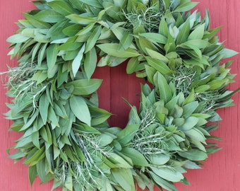 bay leaf wreath with rosemary - Christmas Wreaths Etsy