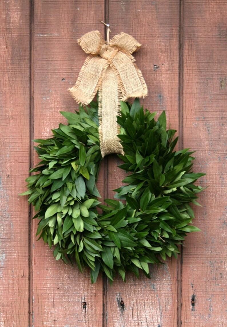 Fresh Bay Leaf Wreath with Jute Bow image 0