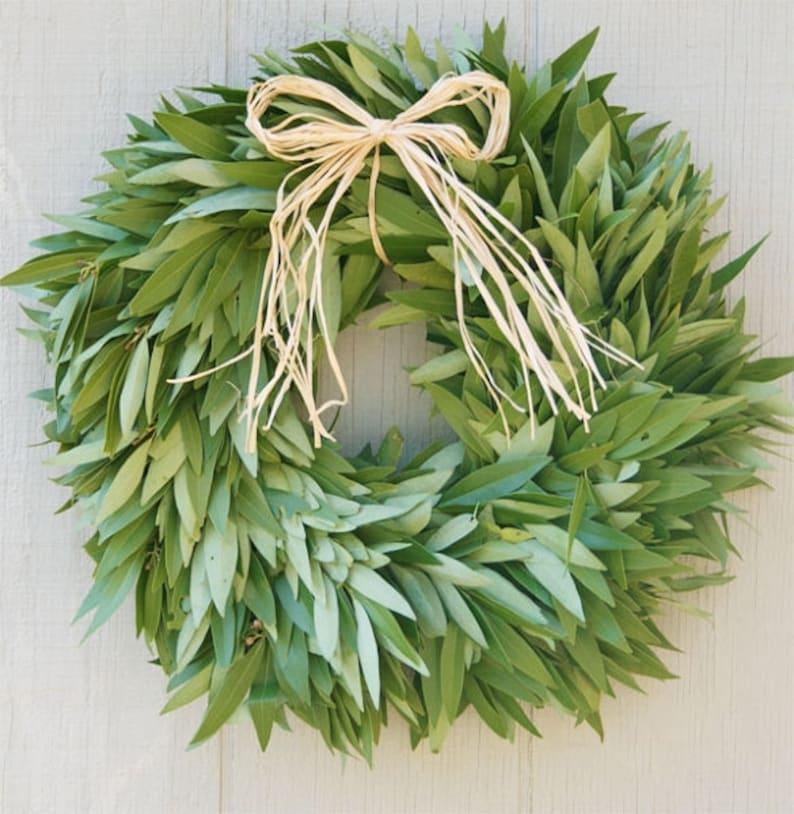 Fresh Bay Leaf Wreath with Raffia Bow image 0