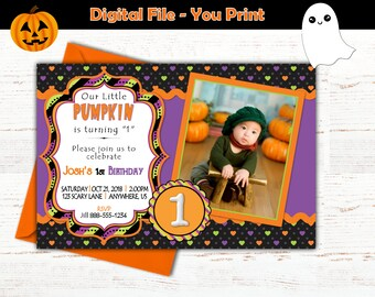 Halloween Picture Birthday First Party Invitation One Year Old Digital File