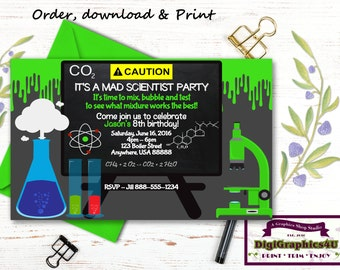 Science Party Invitation Scientist Birthday Mad