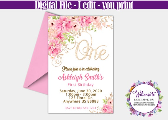 First Birthday Party Invitation Pink And Gold