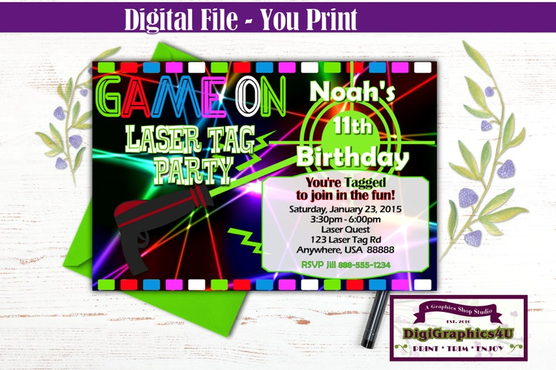 Game On Laser Tag Birthday Party Invitation