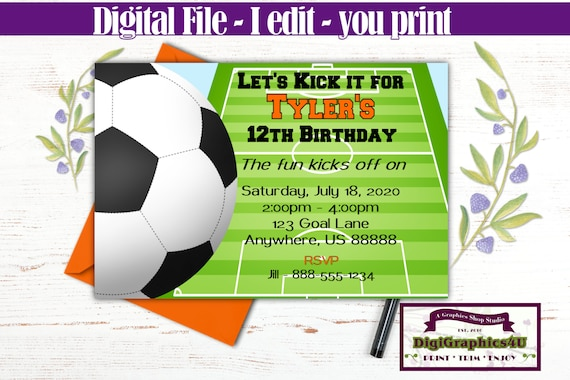Boys Soccer Birthday Invitation Soccer Party Invitation Etsy