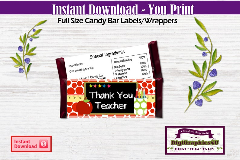 Candy Bar Wrapper Thank You Teacher Appreciation Gift Printable, Chocolate  Bar Wrap - Instant Download Best Selling Items