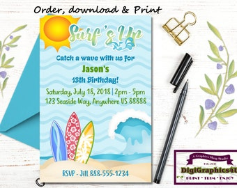 Surf's Up, Beach Surfing Party Birthday Invitations for Boys - Personalized Digital File