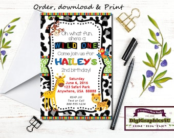 Wild One, Zoo Animals, Wild Animal, Safari Birthday Party Invitation - Personalized Printable File