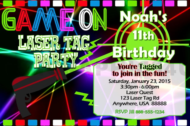 picture about Laser Tag Invitations Free Printable named Laser Tag Birthday Invitation, Laser Tag Occasion, Laser Tag