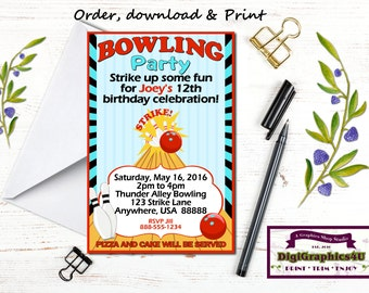 Bowling Party Birthday Invitation for Kids - Personalized Printable File