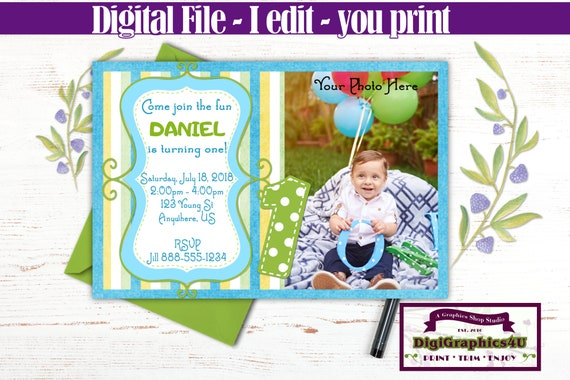 Boys First Birthday Party Invitation In A Fun And Whimsical