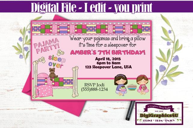 Pink Pajama Party Sleepover Birthday Invitation Girls