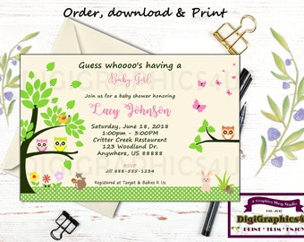 Nature Baby Shower Invitation - Baby Owl Shower - Baby Girl Shower - Personalized Digital File