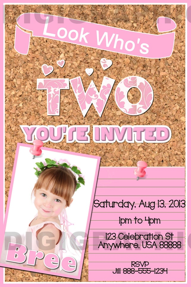 Toddler Birthday Party Invitation Two Year Old Toddlers Corkboard Inspired