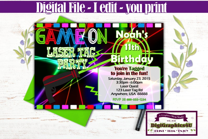 Laser Tag Birthday Printable Party Invitation Optional