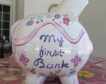 Large-My First Piggy Bank,Kids-Custom-Hand-Painted-Piggy-Banks,Personalized-Piggy-Bank,Flower/ Butterfly-Piggy-Bank-Girl's-Piggy-Banks