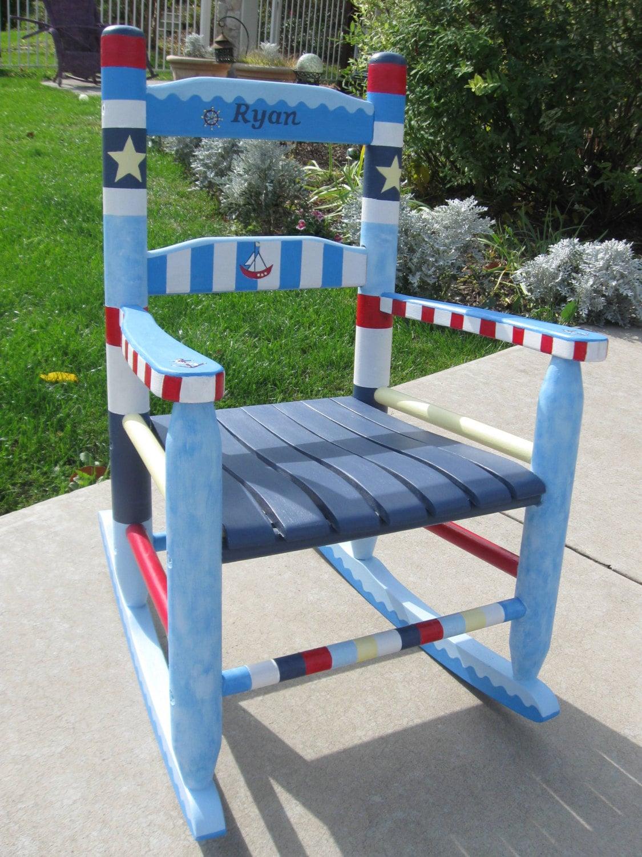 Children S Hand Painted Nautical Rocking Chairs Kids Etsy