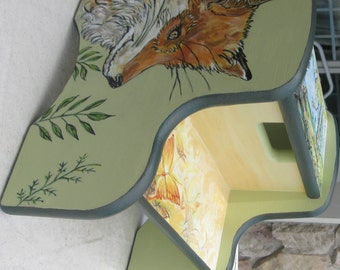 Children's Hand Painted Fox Step Stool, Wildlife-Animal Stool for Kids, Personalized Step Stools,Fox Step Stool