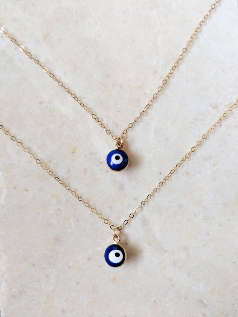 Evil Eye Silver Necklace Cable Chain 14K Rose Gold Plated Minimal