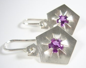 Silver earrings with gemstones - QUINTESSENZ