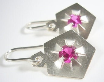 Silver earrings with synthetic ruby gemstones - QUINTESSENZ