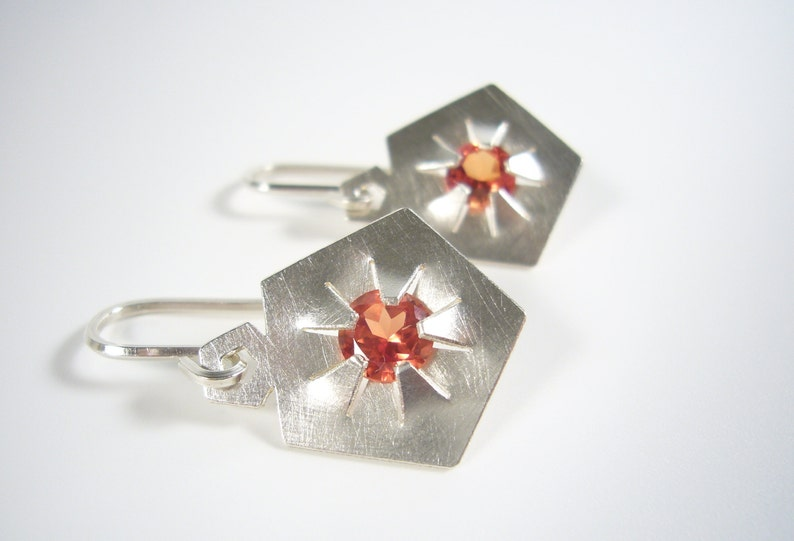 Silver earrings with synthetic padparadscha gemstones  image 0