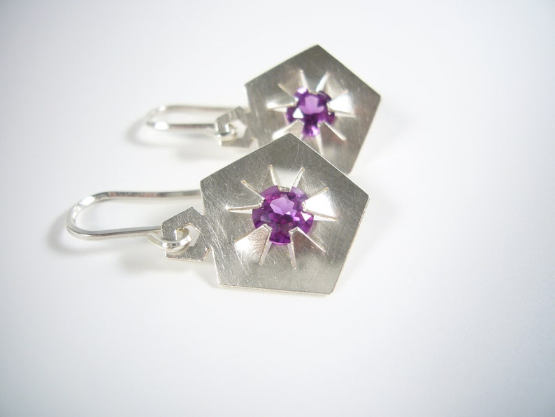 Silver earrings with gemstones  QUINTESSENZ image 0