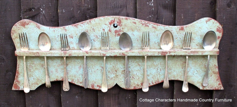 Painted primitive 19th century American style spoon rack image 0