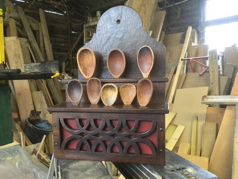 Oak Welsh style spoon rack. image 0
