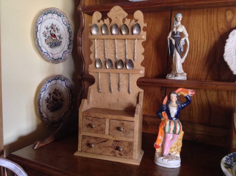 Miniature spoon rack with drawers handmade using rare burr oak image 0