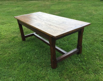 Traditional antique style reclaimed oak dining refectory table