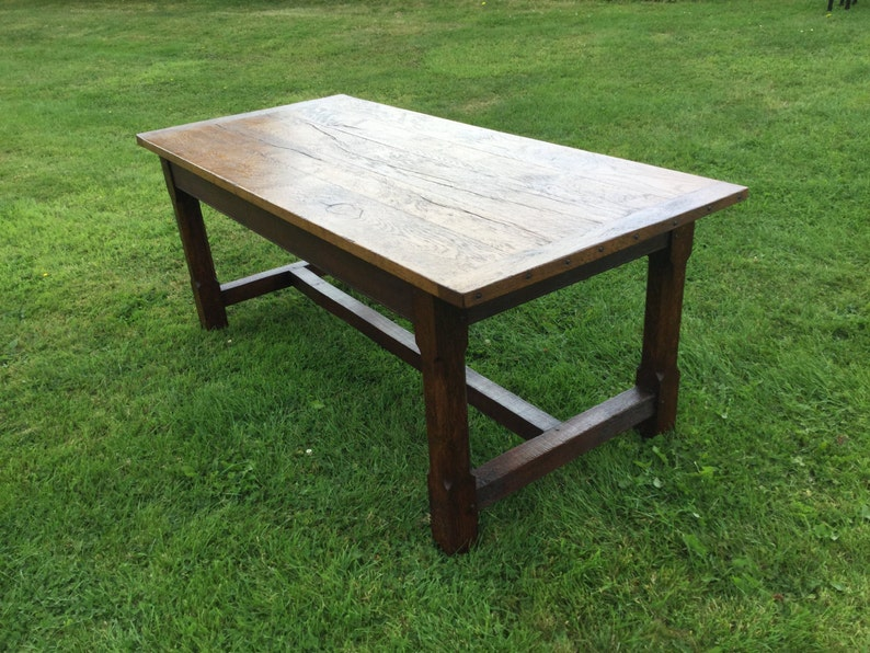 Traditional antique style reclaimed oak dining refectory table image 0