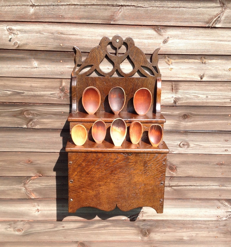 18th century style welsh Lovebird spoon rack made from image 0