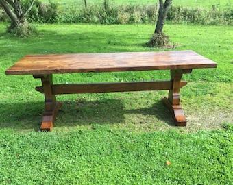Single plank top Medieval style Trestle dining table. Oak/Elm