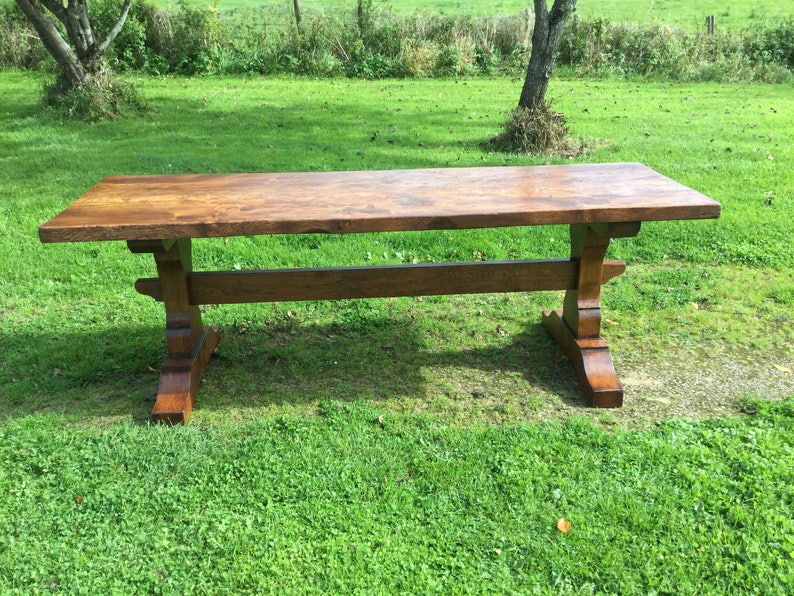Single plank top Medieval style Trestle dining table. Oak/Elm image 0