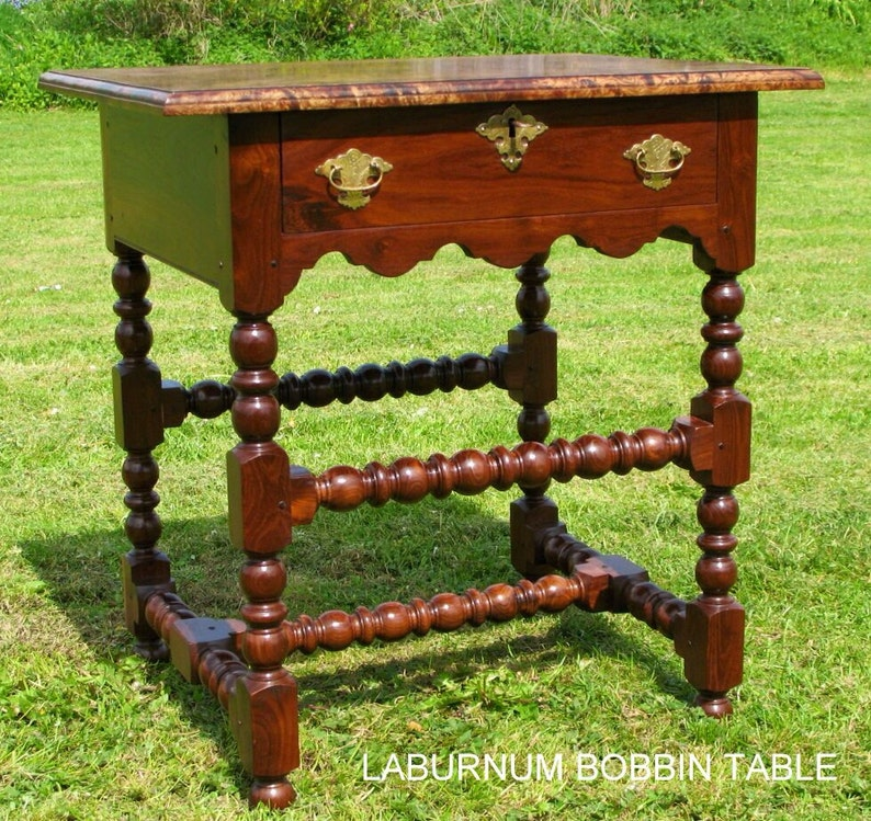 Late 17th century style bobbin side table. image 0